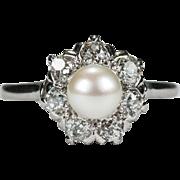 Old Mine Cut Diamond Pearl Palladium Platinum Ring