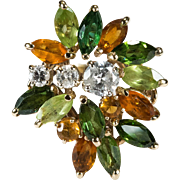 Tourmaline Citrine Peridot Diamond Ring 14k Gold Mixed Gemstone Ring