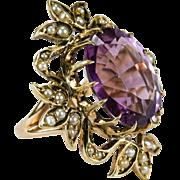 Antique Amethyst Pearl Ring 14k Gold Filigree Victorian Amethyst Ring