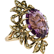 Antique Amethyst Seed Pearl Ring 14k Gold Filigree Victorian Amethyst Pearl Ring