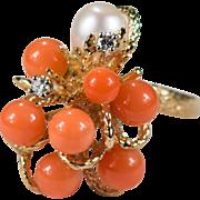 Natural Coral Pearl Diamond Ring 14k Angel Skin Coral Ring