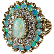 Natural Opal Diamond Ring 4.5ctw 14k Gold Diamond Halo Opal Ring