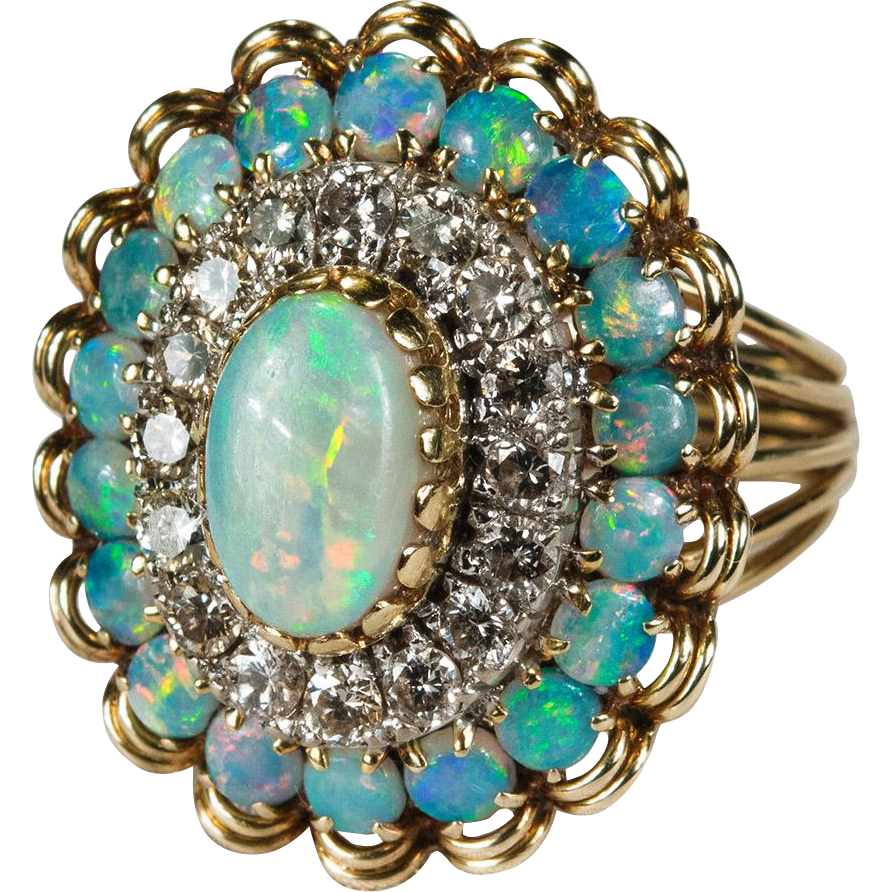 Natural Opal Diamond Ring 4 5ctw 14k Gold Opal Diamond