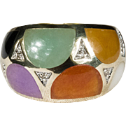 Mixed Jade Diamond Ring 585 14k Gold Wide Band Jade Ring