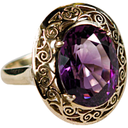 Natural Amethyst Solitaire Filigree Ring 18k Gold Amethyst Ring