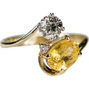 Old European Cut Diamond Sapphire Ring 14k Plumb Gold Natural Yellow Sapphire Diamond Ring