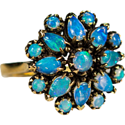 Natural Opal Ring 1.68ctw 14k Gold Precious Blue Opal Cluster Ring
