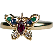 Diamond Ruby Sapphire Emerald Butterfly Ring 14k Gold Mixed Gemstone Butterfly Ring