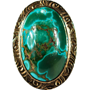 Natural Royston Turquoise 14k Gold Ring
