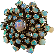 Natural Opal Ring 14K Gold Opal Cluster Ring