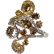 Old Rose Cut Fancy Diamond Ring 3ctw 18k Gold Champagne Yellow Diamond Cluster Ring