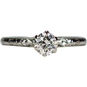 Art Deco Solitaire Diamond 18k Gold .45ctw Old European Transitional Cut Wedding Engagement Ring