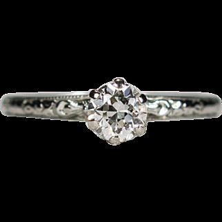 Art Deco Solitaire Diamond 18k Gold .45ctw Old European Transitional Cut Wedding Engagement Ring