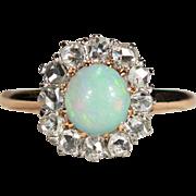 Antique Opal Diamond Ring 14k Gold Old Mine Cut Diamond Halo Opal Ring