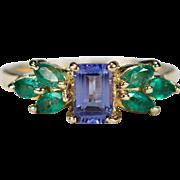 Vintage Natural Tanzanite Emerald Ring 14k Gold Emerald Cut Tanzanite Ring