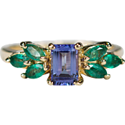 Vintage Natural Tanzanite Emerald Ring 14k Gold Emerald Cut Tanzanite Ring