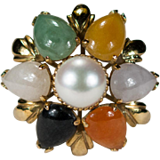 Mixed Jade Pearl Ring 14k Gold Cultured Pearl Multi Color Jade Ring