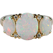 Natural Opal Diamond Ring 14k Gold Large Three Stone Opal Ring