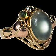 Tourmaline Moonstone Ring 14k Gold Tri Gold Hand Crafted Leaf Natural Moonstone Tourmaline Ring