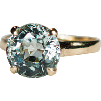 Solitaire Aquamarine Ring 14k Gold 4.50ctw Natural Aquamarine Ring