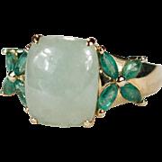Vintage Hong Kong Jade Emerald Ring 14k Gold Flowers Green Jade Jadite Ring