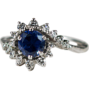 Sapphire Diamond Ring 14k Gold Diamond Bypass Sapphire Arthritic Shank Expandable Ring