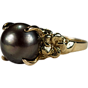 Black Tahitian Baroque Pearl Ring 14k Gold Solitaire Pearl Hawaiian Plumeria Flower Ring