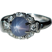 Natural Star Sapphire Diamond Platinum Ring 4.50ctw Purple Star Sapphire Ring