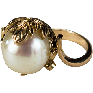 Art Deco South Sea Baroque Pearl 14k Gold Undrilled Genuine Pearl Ring