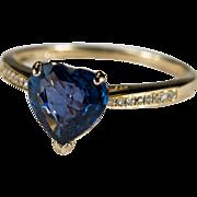 Natural Heart Sapphire Diamond Ring 10k Gold Solitaire Heart Sapphire Diamond Band Engagement Ring