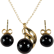 Natural Black Coral Set 14k Gold Black Coral Earrings Pendant Necklace Chain