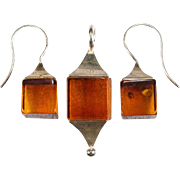 Natural Baltic Amber Earrings Pendant Set 925 Sterling Silver Amber Set Squared
