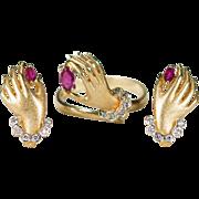 Ruby Diamond Hand Ring Earrings Set 14k Gold Designer Ruby Diamond Earrings Ruby Diamond Ring Set