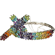 Rainbow Semi Precious Colored Gems Cross Bracelet Set 925 Sterling Silver Demi Parure