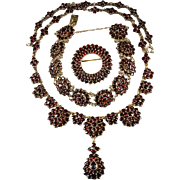 Old Rose Cut Bohemian Garnet Parure Gold Over 900 Silver Garnet Bracelet Garnet Necklace Garnet Brooch Set