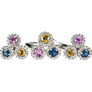 Sapphire Diamond Halo Ring 14k Gold Sapphire Diamond Earrings Set