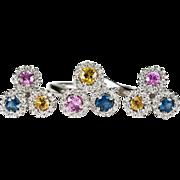 Sapphire Diamond Halo Ring 14k Gold Sapphire Diamond Earrings Set