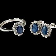 Vintage Sapphire Diamond Ring 14k Gold Natural Diamond Sapphire Earrings Set