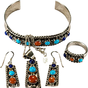 Navajo Running Bear Parure 925 Sterling Lapis Turquoise Coral Earrings Pendant Ring Bracelet Chain