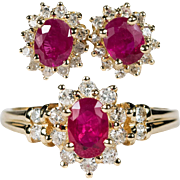 Vintage Diamond Ruby Ring Earrings 585 14k Gold Ruby Diamond Set