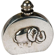 Adorable Repousse Elephant Perfume Bottle 925 Sterling Silver