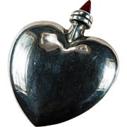 Sterling Silver Heart Perfume Bottle Red Glass Dabber
