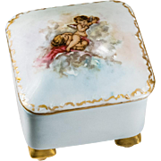 Vintage Hand Painted Porcelain Cherub Gold Gild Footed Trinket Box