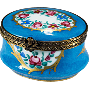 Sweet Rare Blue Gold Roses Hand Pained Limoges Trinket Box Thistle Clasp
