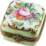 Snowflake Hand Painted Flowers Limoges Rose Gold Leaf Trinket Ring Box