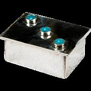 Three Stone Turquoise 925 Sterling Silver Trinket Box Pill Box
