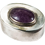 Natural Amethyst Trinket Box Vintage Hecho Mexico 925 Sterling Silver Pill Box