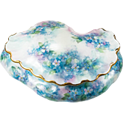Limoges Forget Me Not Flowers Hand Painted Signed Oyster Shell Trinket Box Vanity Box