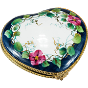Limoges Peint Main Heart Morning Glory Vine Vanity Compact Trinket Box