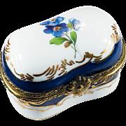 Limoges Bluebell Flower Hand Painted Gold Leaf Porcelain Trinket Box
